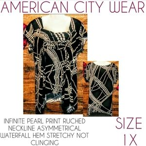 American City Wear Top Size 2X Pearl Waterfall
